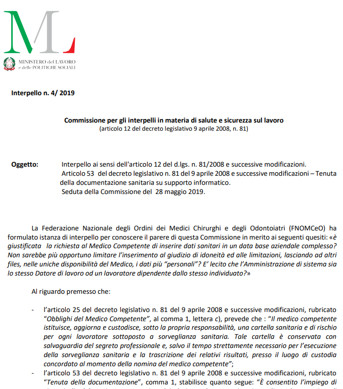 Interpello salute e sicurezza sul lavoro n.4/2019