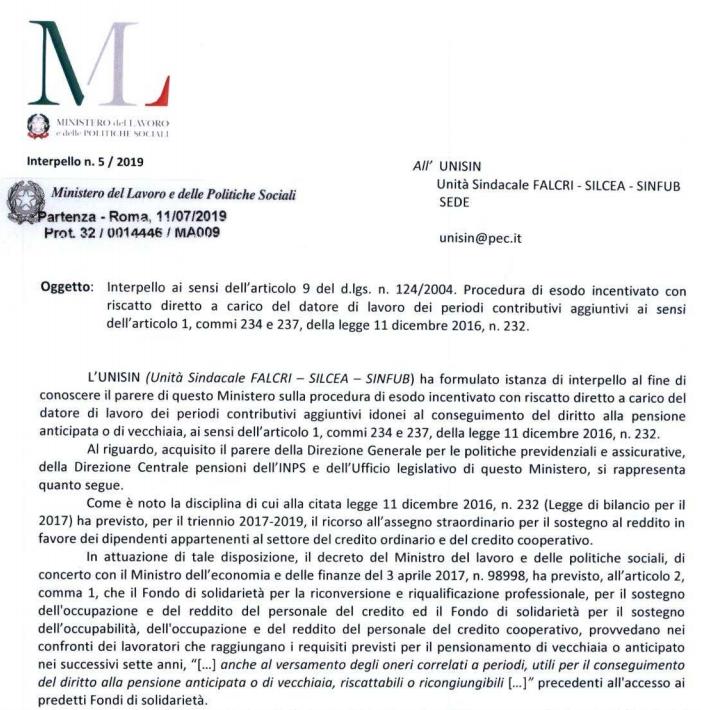 interpello Ministero Lavoro n.5/2019