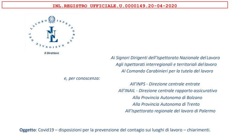 Check-list Ispettori INL.REGISTRO UFFICIALE.U.0000149.20-04-2020