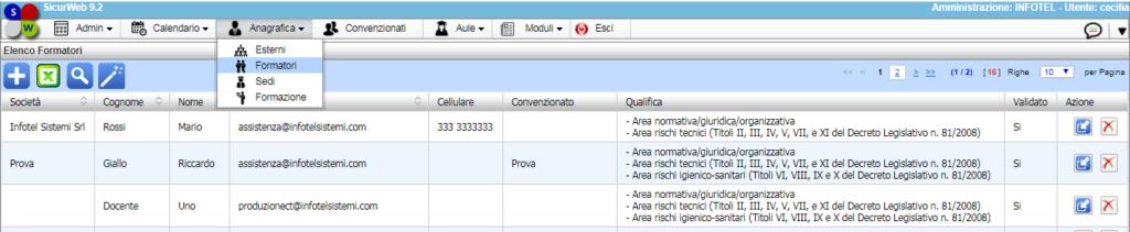 i SicurWeb dispone di una sezione dedicata ai Formatori.