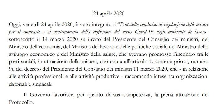 Protocollo condiviso di regolamentazione delle misure 24 Aprile 2020