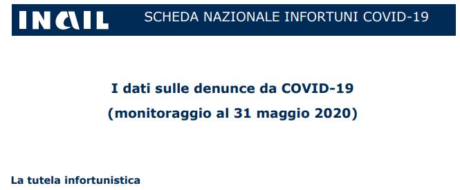 I dati sulle denunce da COVID-19 Maggio 2020