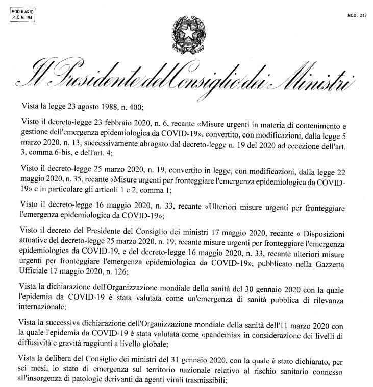 DECRETO DEL PRESIDENTE DEL CONSIGLIO DEI MINISTRI 11 giugno 2020 Dpcm 11 giugno 2020