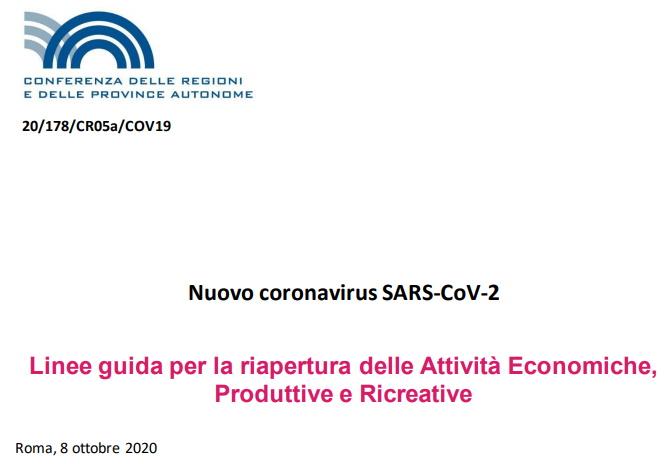 Documento della Conferenza delle Regioni dell'8 ottobre